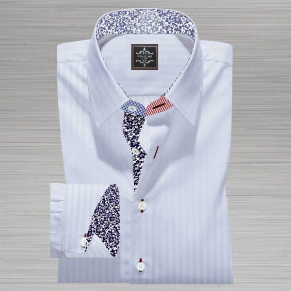 White micro Herringbone Shirt