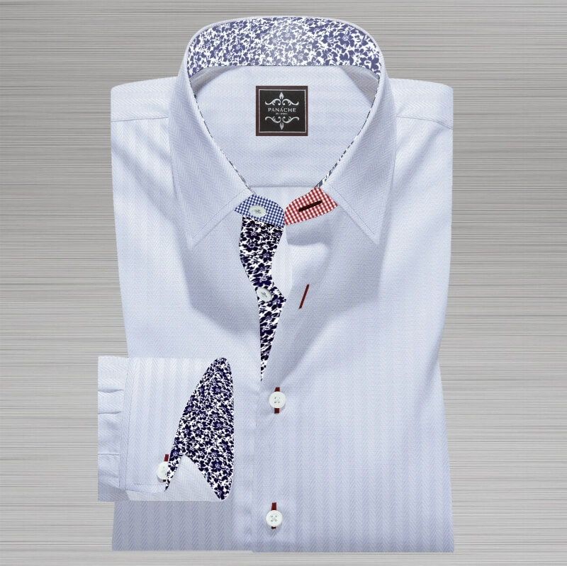 White micro Herringbone Shirt