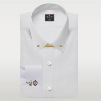 White Broadcloth Pin Collar Shirt