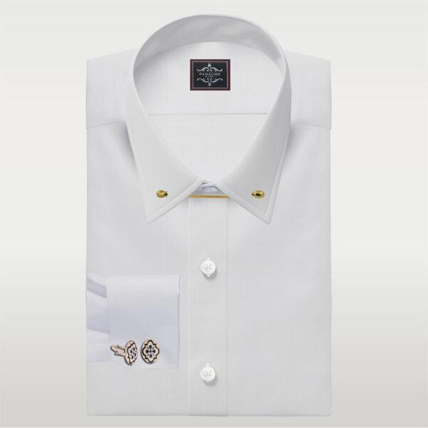 White Broadcloth Pin Collar Shirt