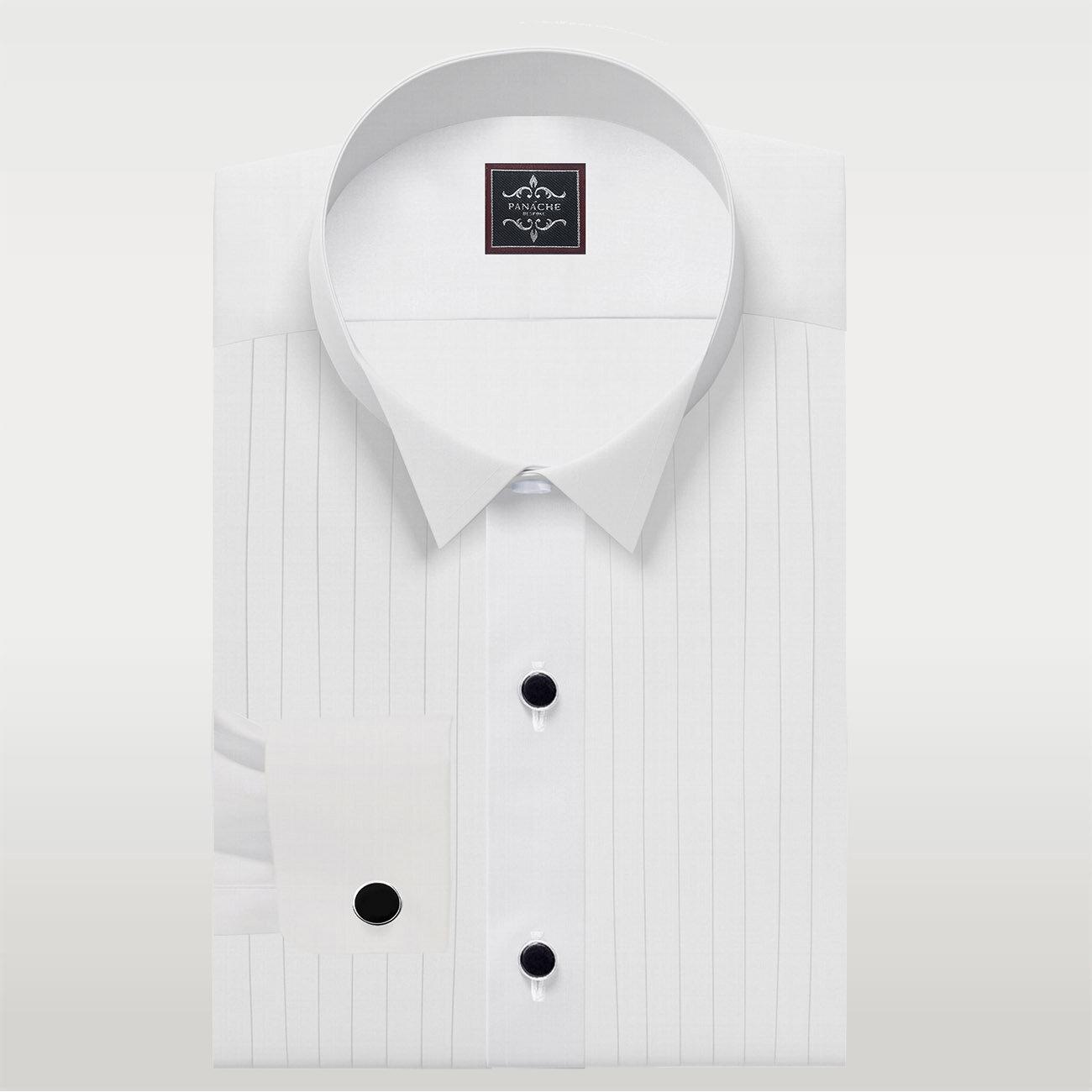 White Broadcloth Tuxedo Shirt
