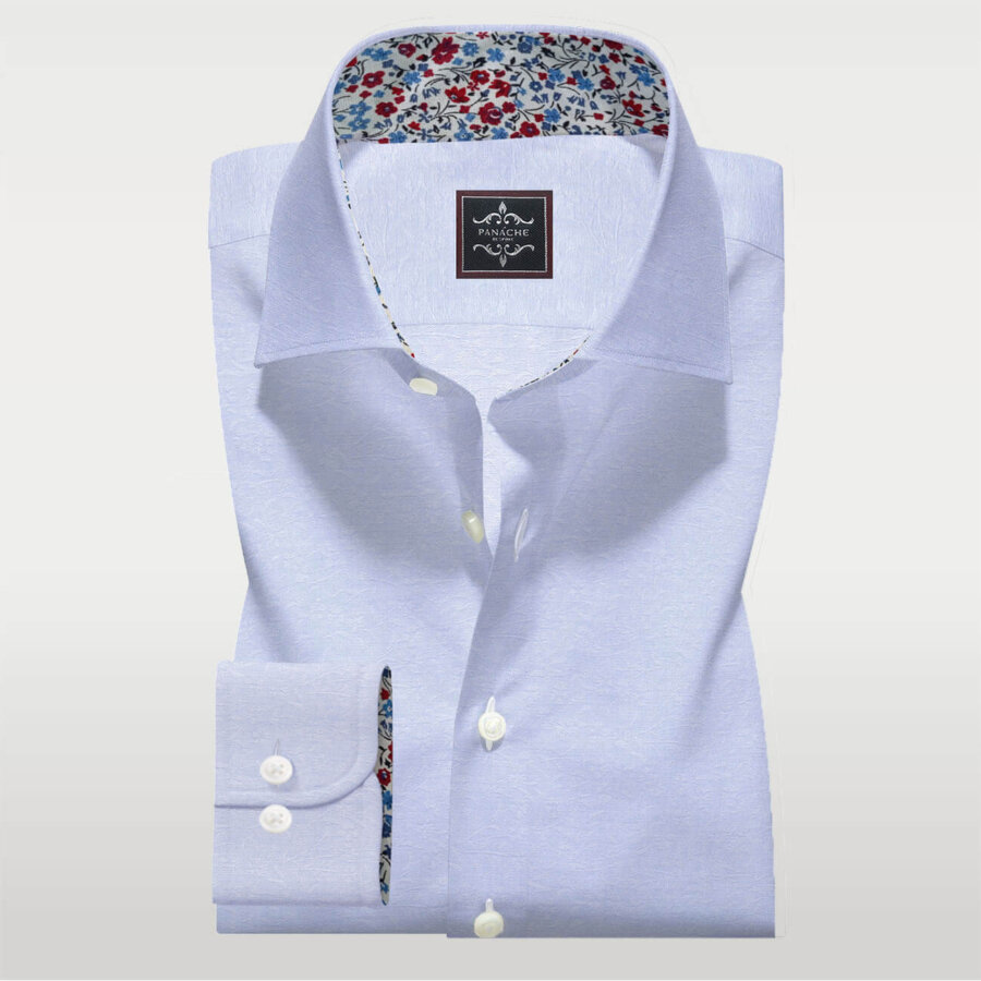 Light Blue Self Shirt | Mens dress shirts