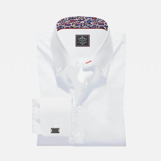 White Custom Made Button-Down