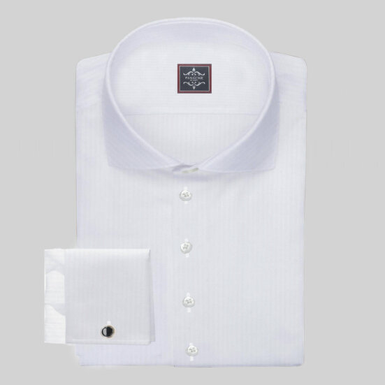 Luxury White Micro-Herringbone Shirt