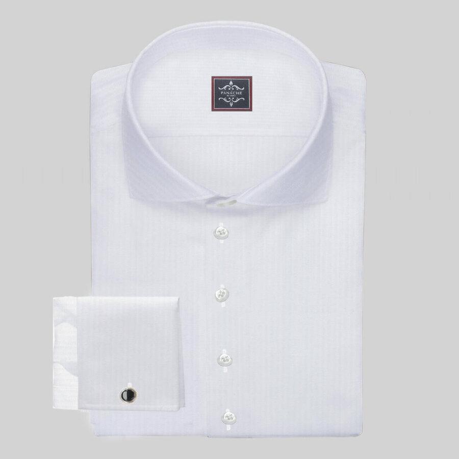Luxury White Micro-Herringbone Shirt
