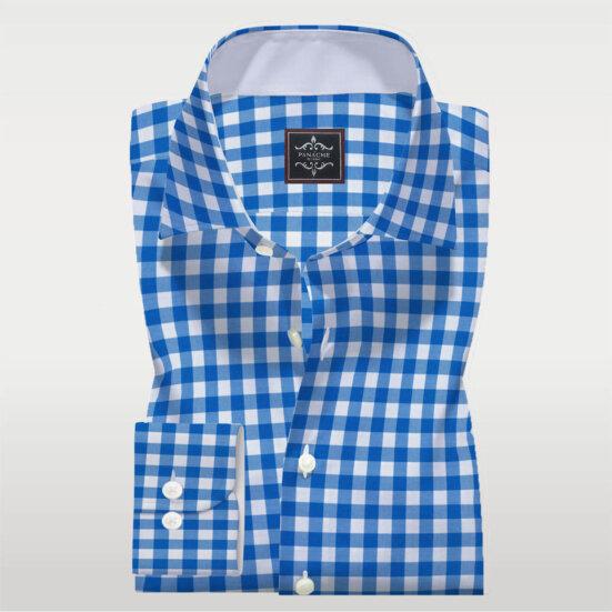 Blue And White Check Shirt