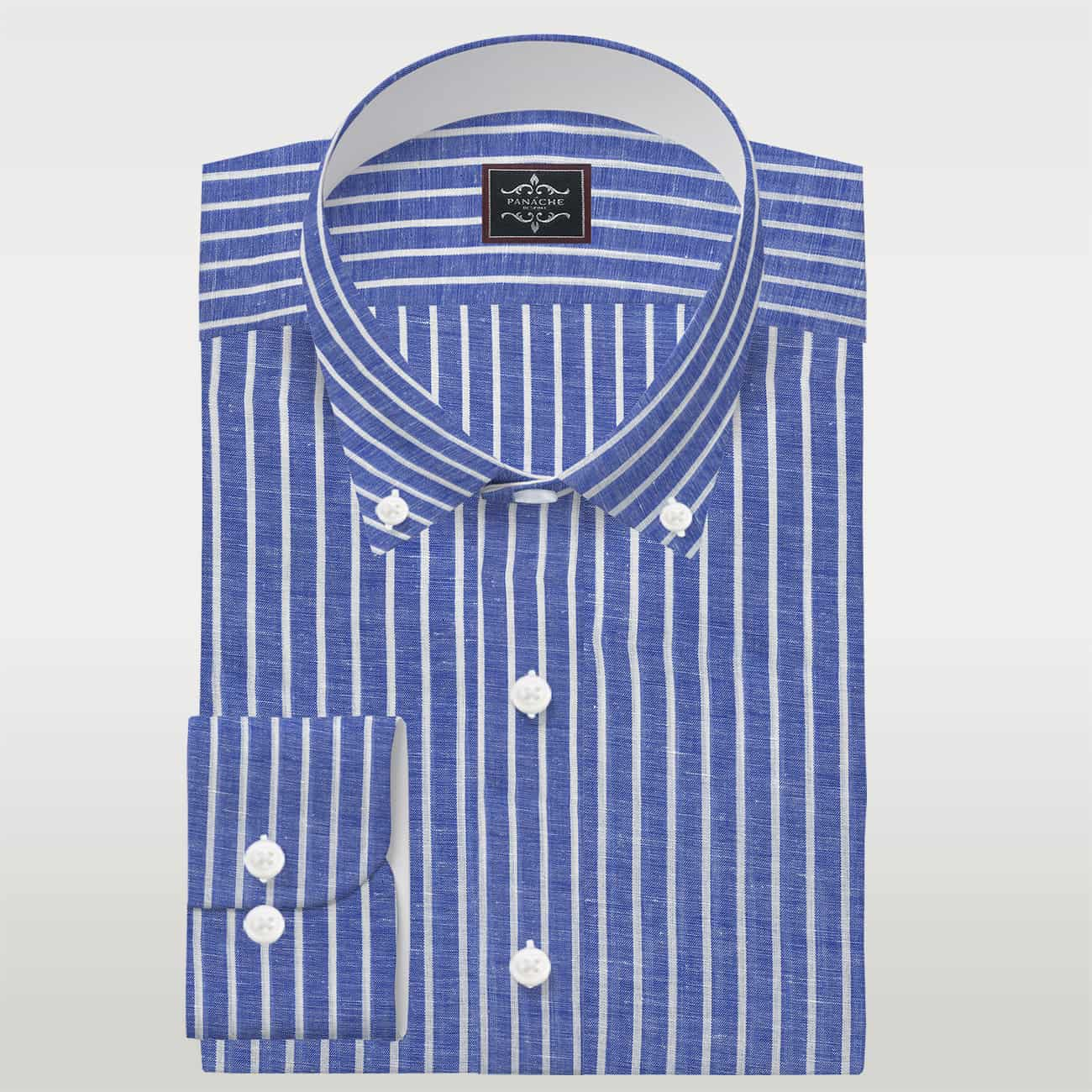 Blue and White Stripes Linen Shirt