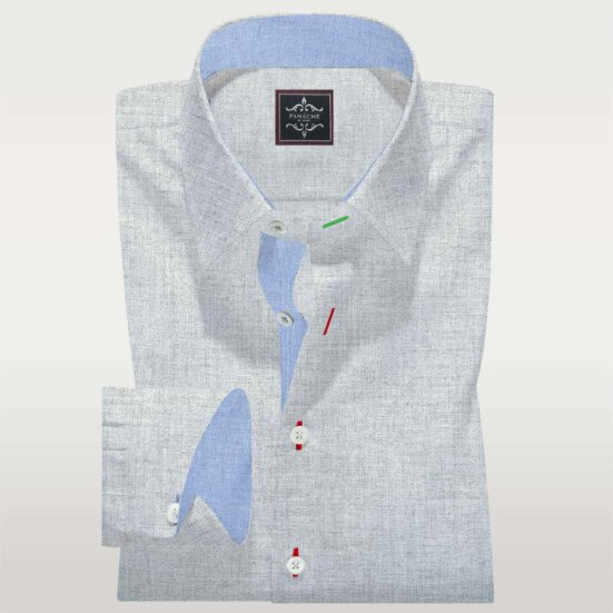 Silver Grey Twill Shirt Flannel Mens Flannel Shirts