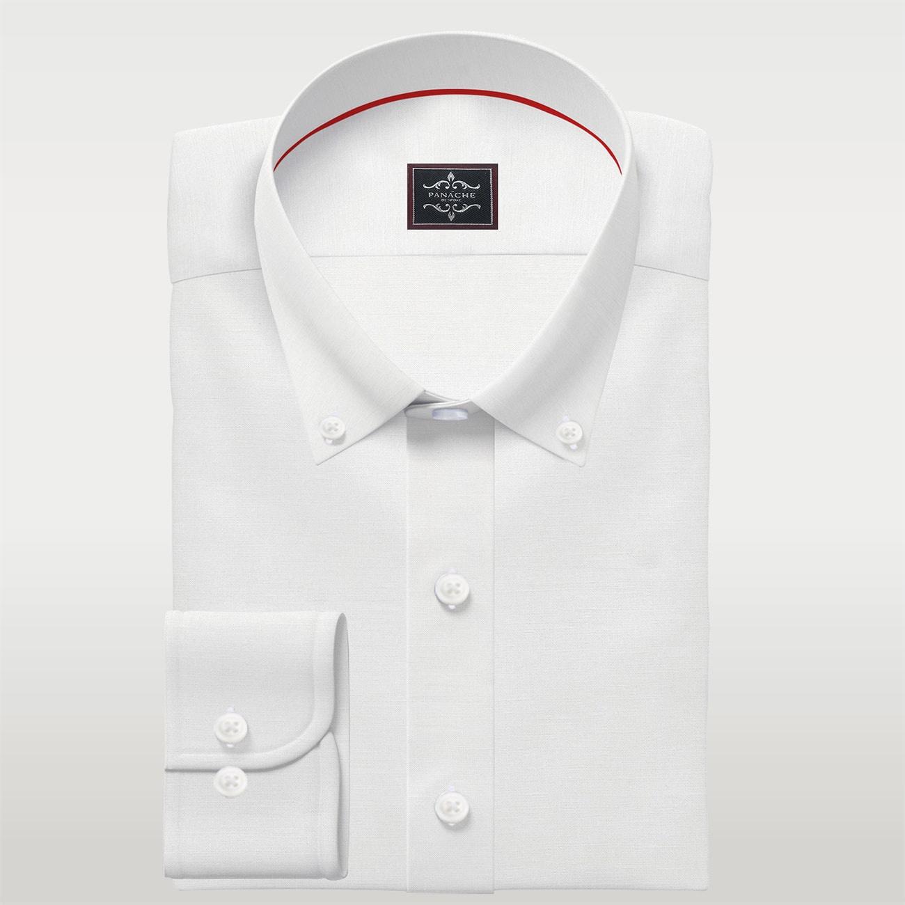 Luxury White Linen Button Down Shirt | Mens Custom Buttoned Shirt