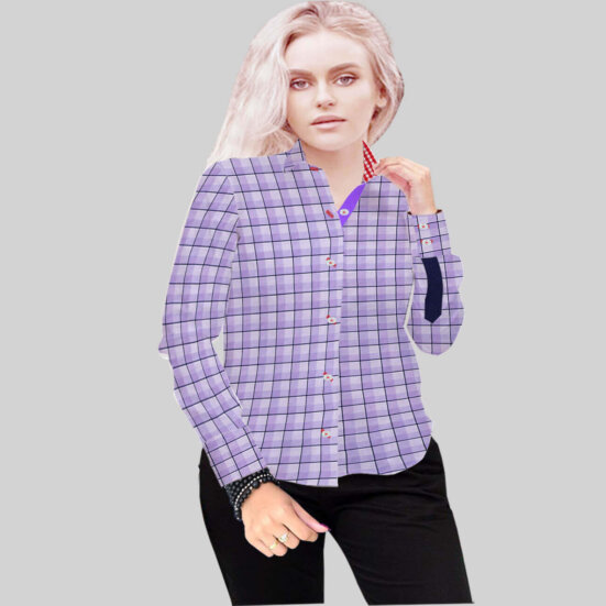 Luxury Purple Check Shirt 1