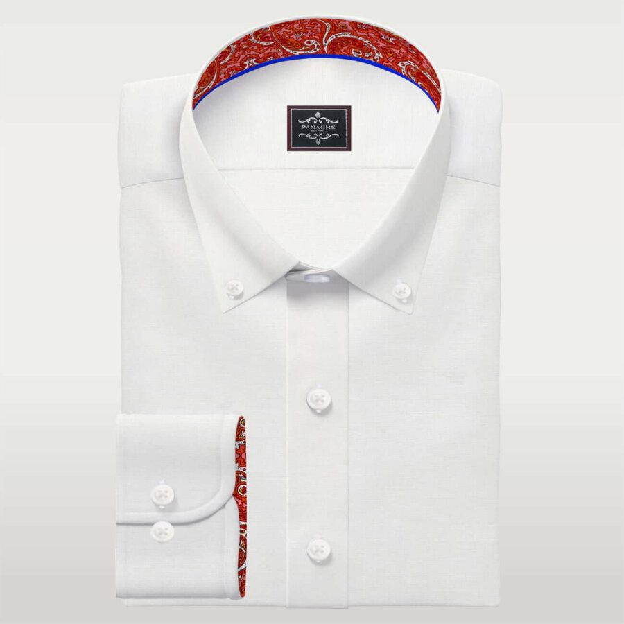 White Linen Button-Down Shirt