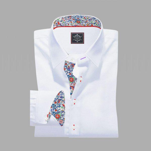Luxury-White Twill Egyptian Cotton-Shirt