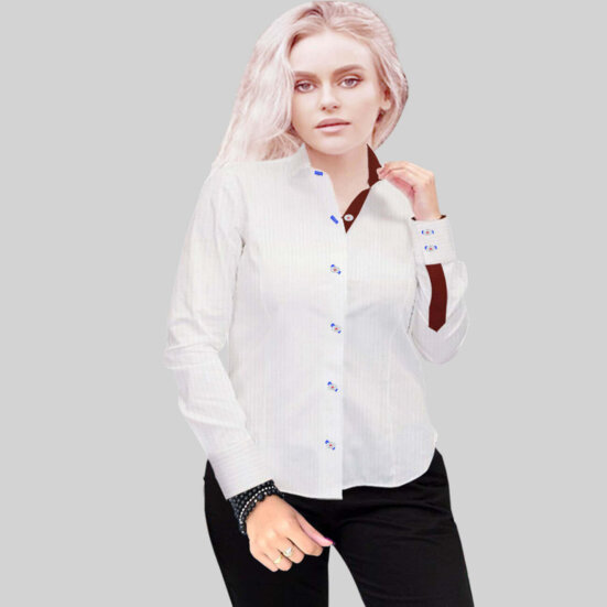 Luxury White Herringbone Shirt