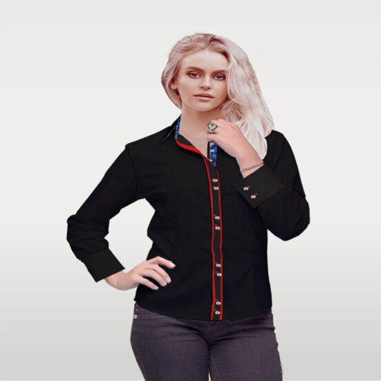 Luxury Black Broadcloth Shirt Custom Made Ladies Fashion Shirt