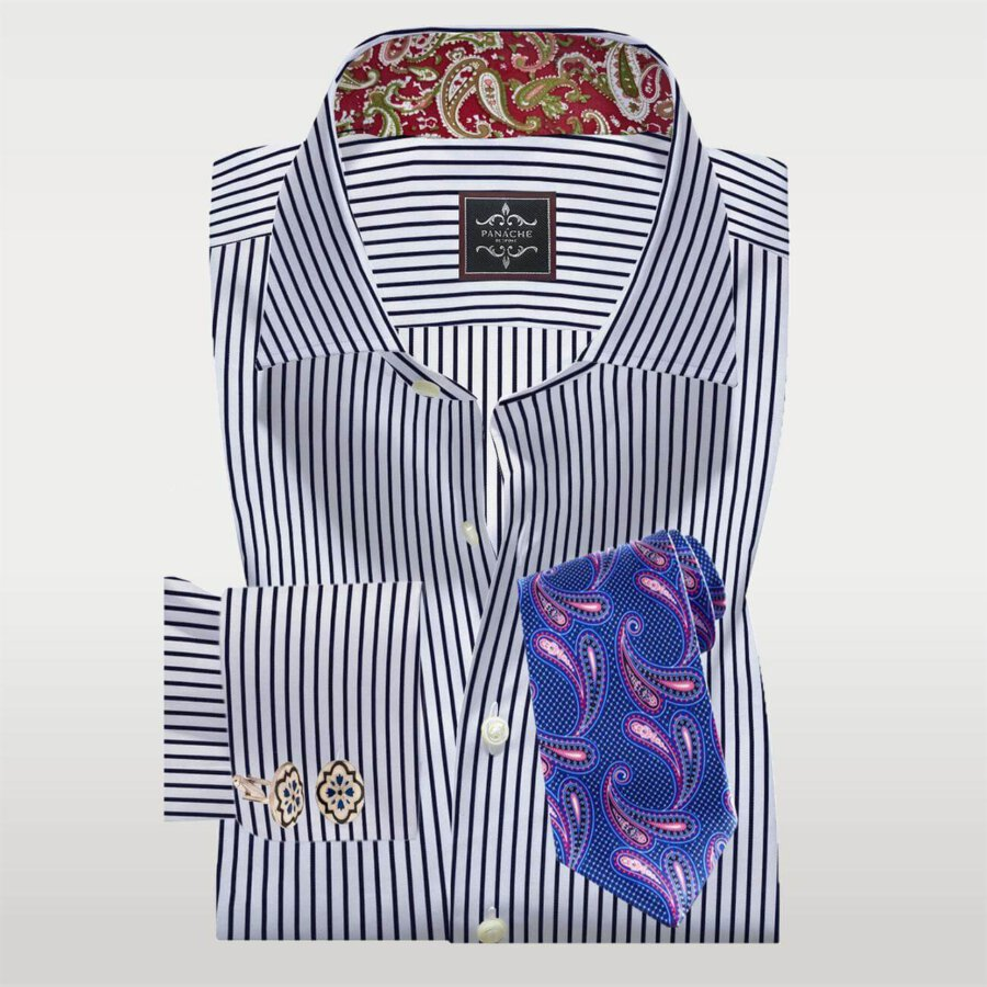 Navy and White Stripes Twill Shirt