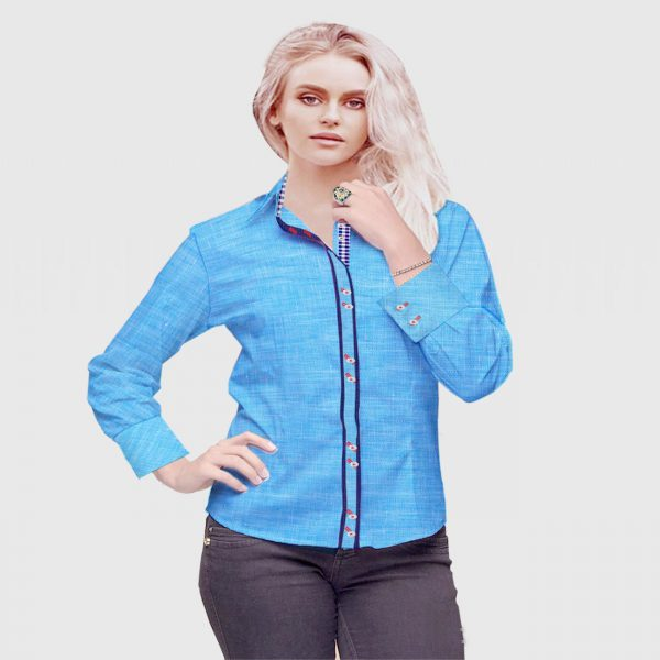 Cyan Color Lady Shirt