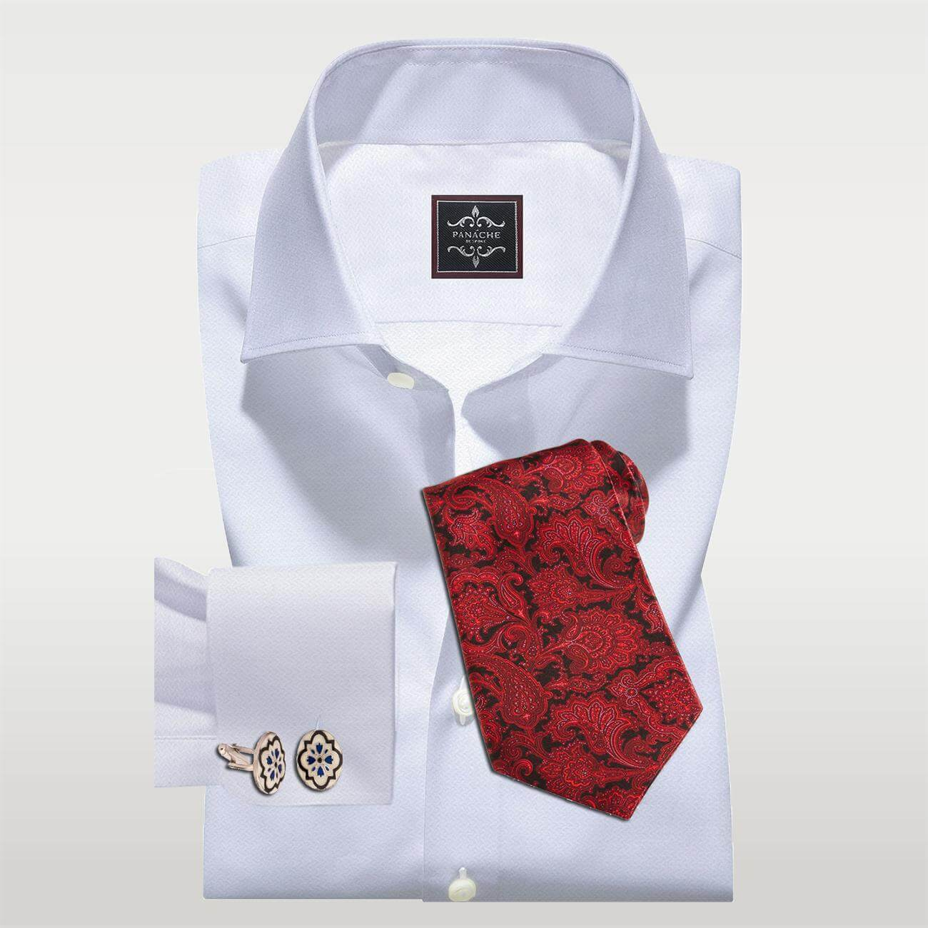 Luxury White Self Texture Twill Shirt