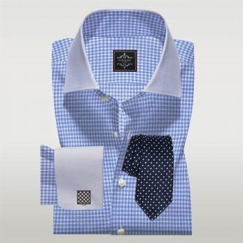 Custom Made Light Blue Checked Shirt