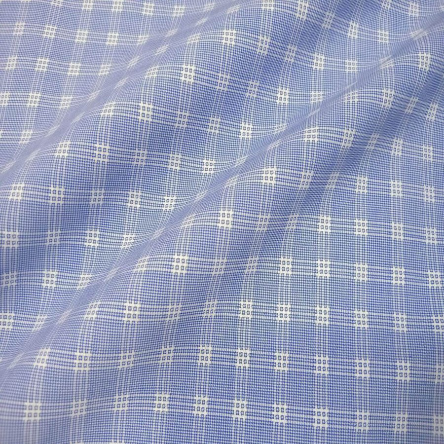 Blue Self Small Check Houndstooth Shirt