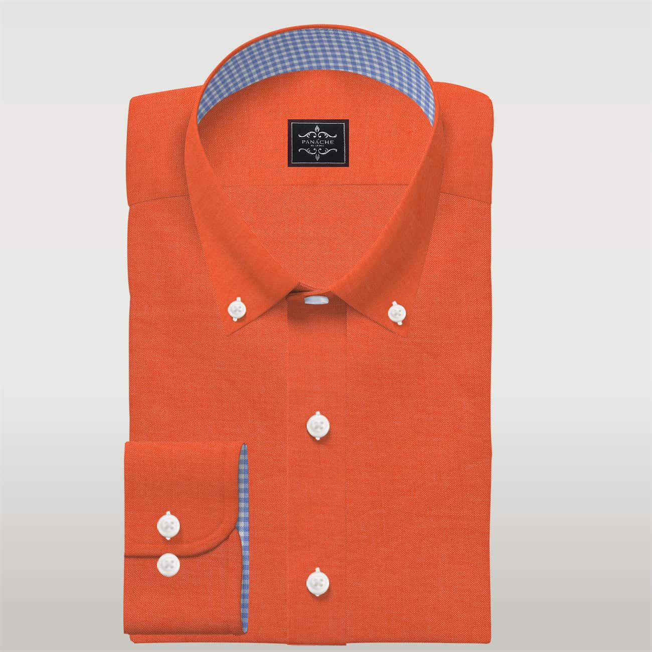 Mens Button Up Dress Shirt Luxury Orange Custom Made Button-Down Shirts