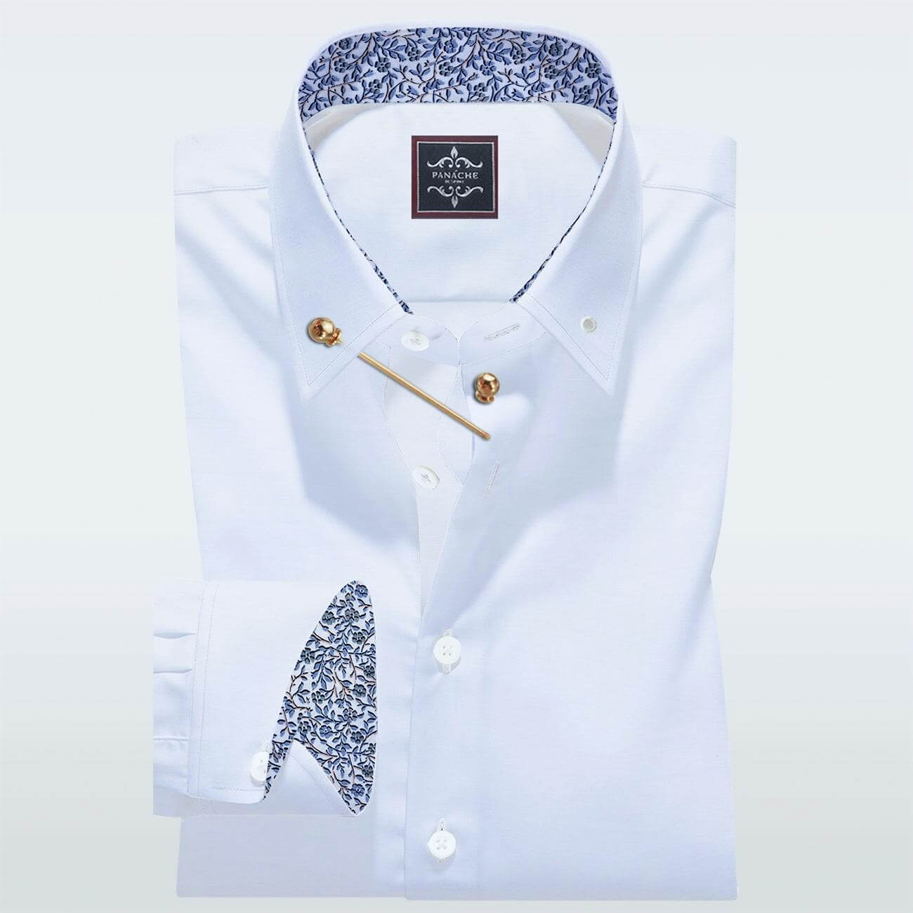 luxury White Pinned Collar Shirt