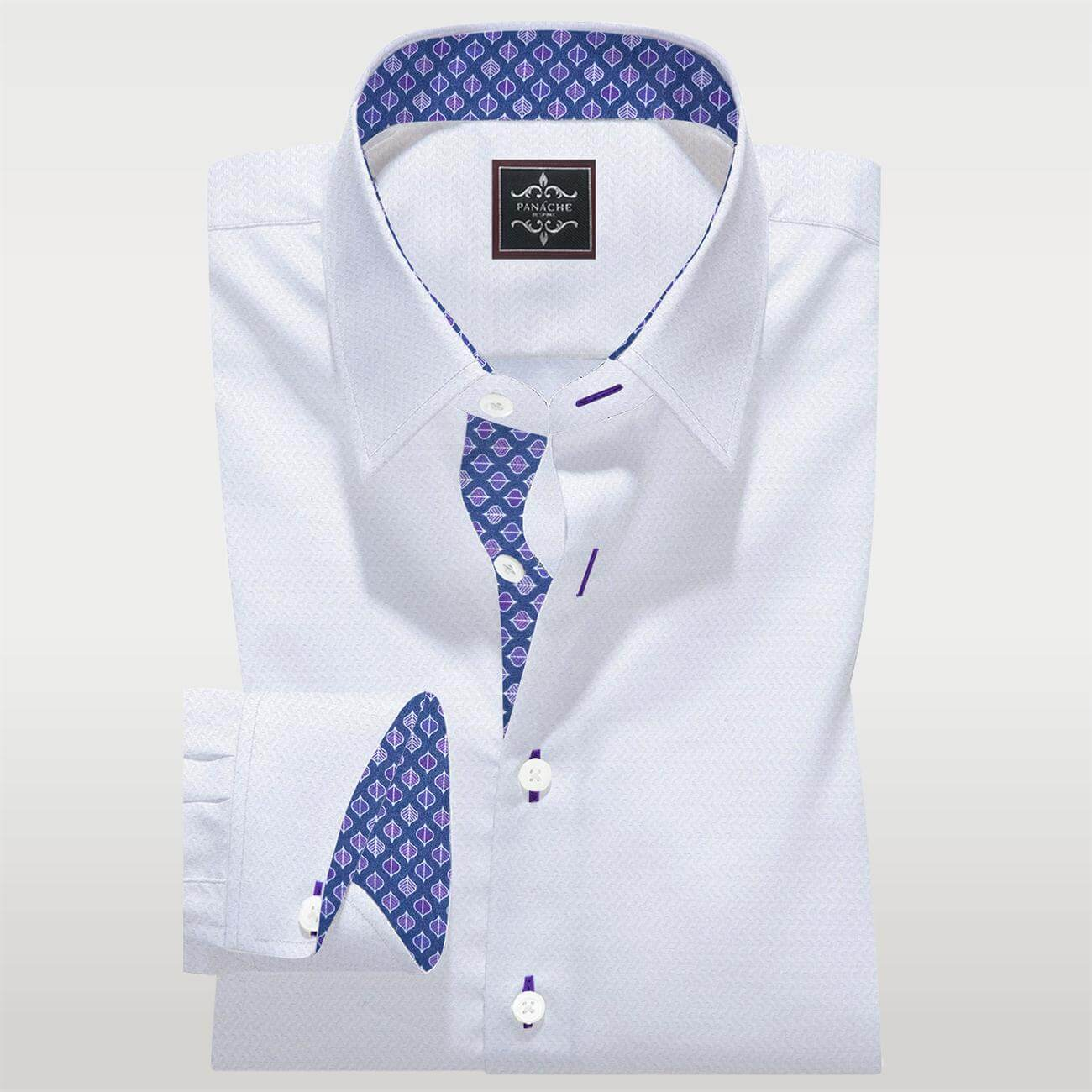 Luxury White Custom Made Self Shirt