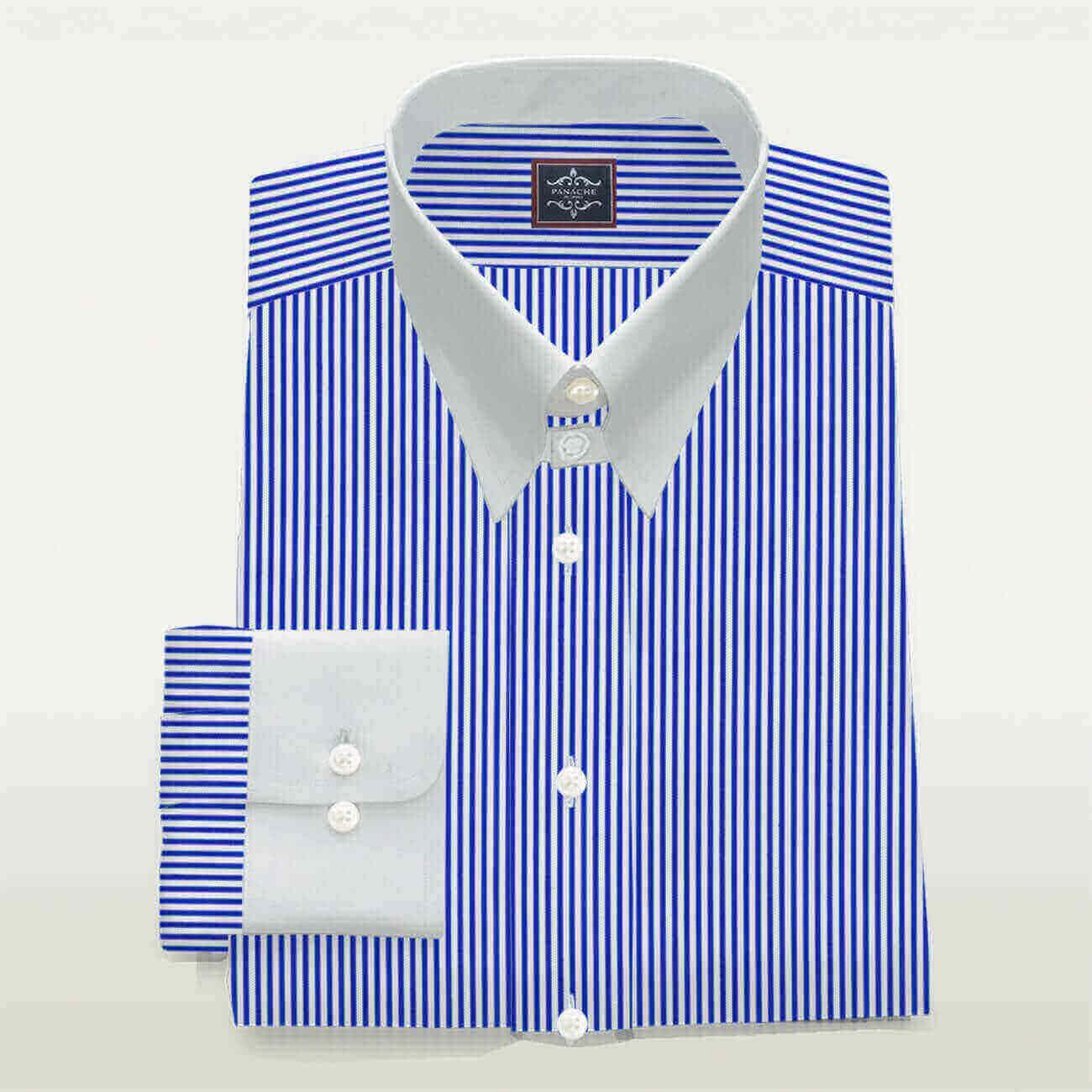 Luxury White and Blue Tab Collar Stripes Shirt