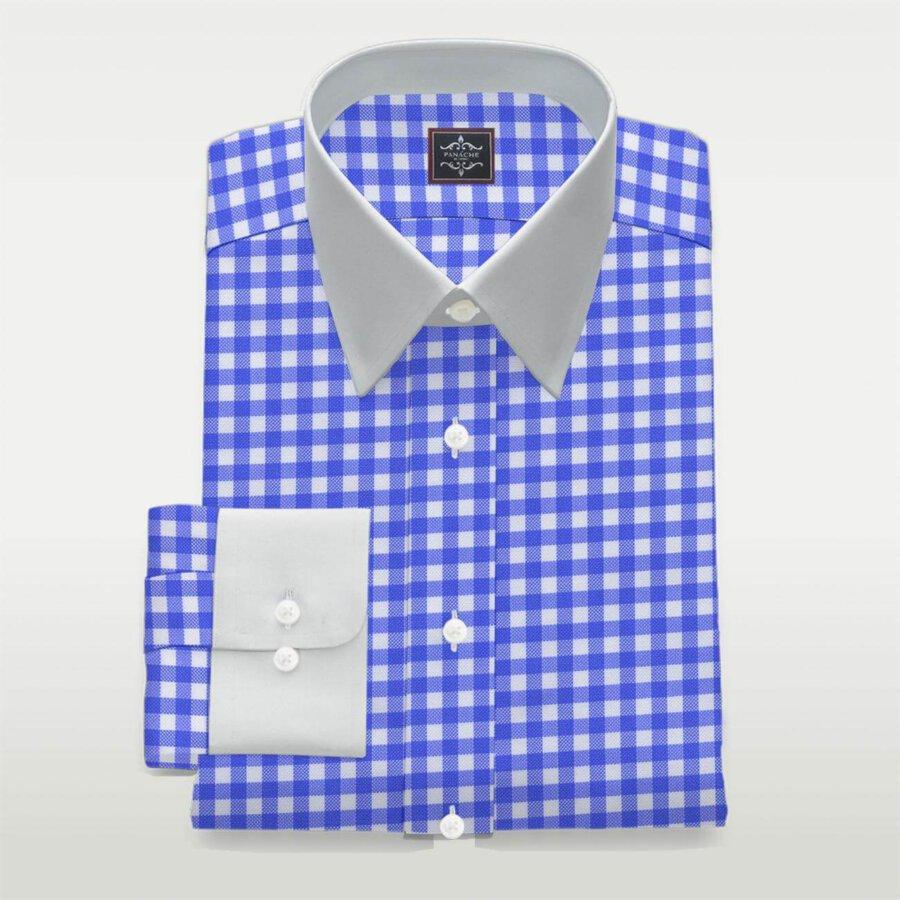 Custom Made Luxury Blue Checkered Shirt