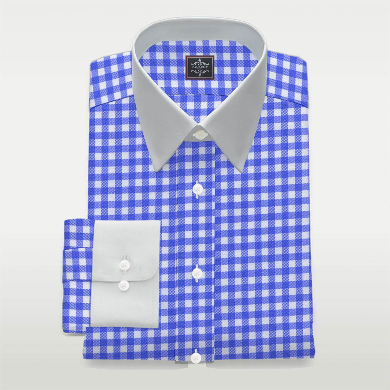Custom Made Luxury Blue Checkered Shirt