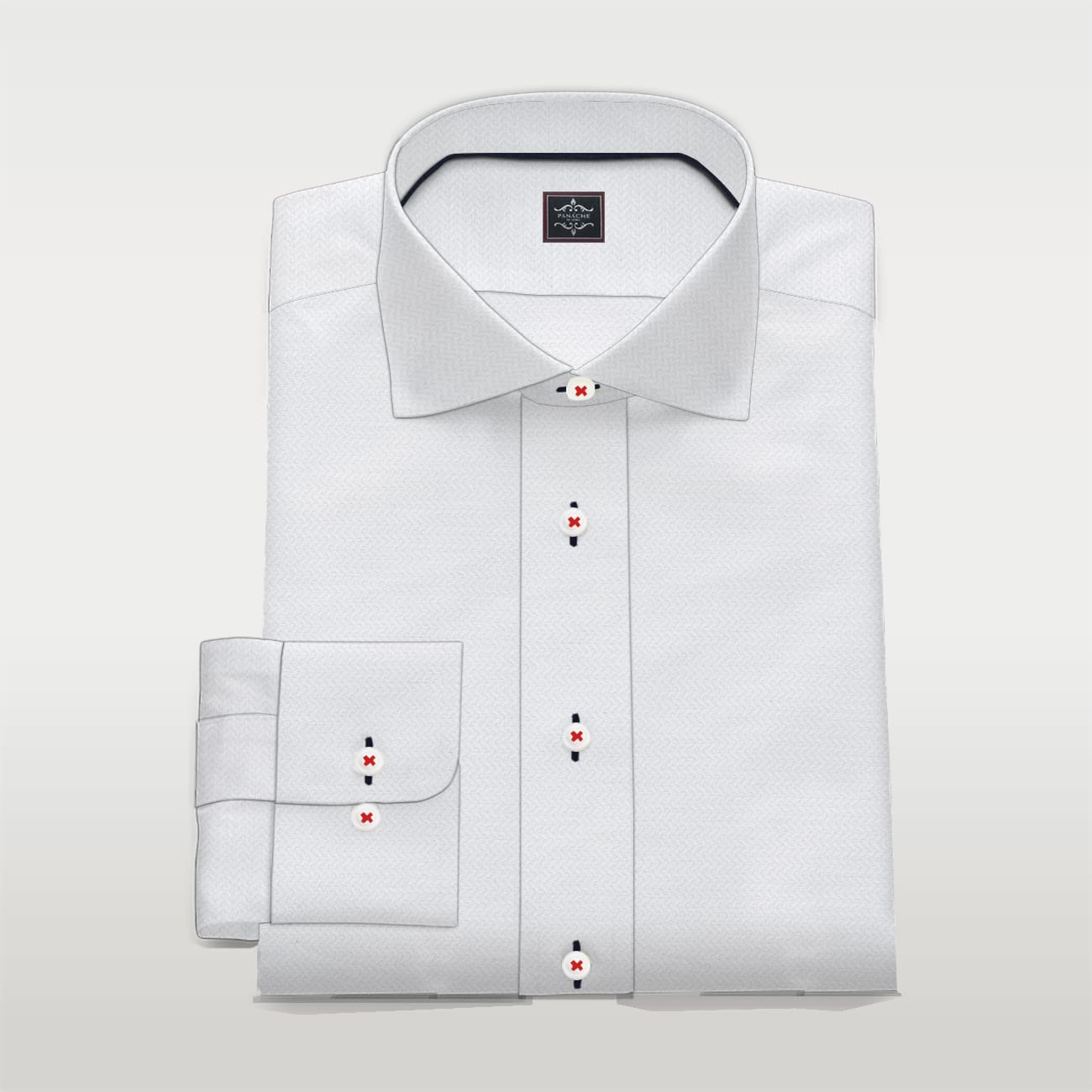 Custom Made Self White Shirt