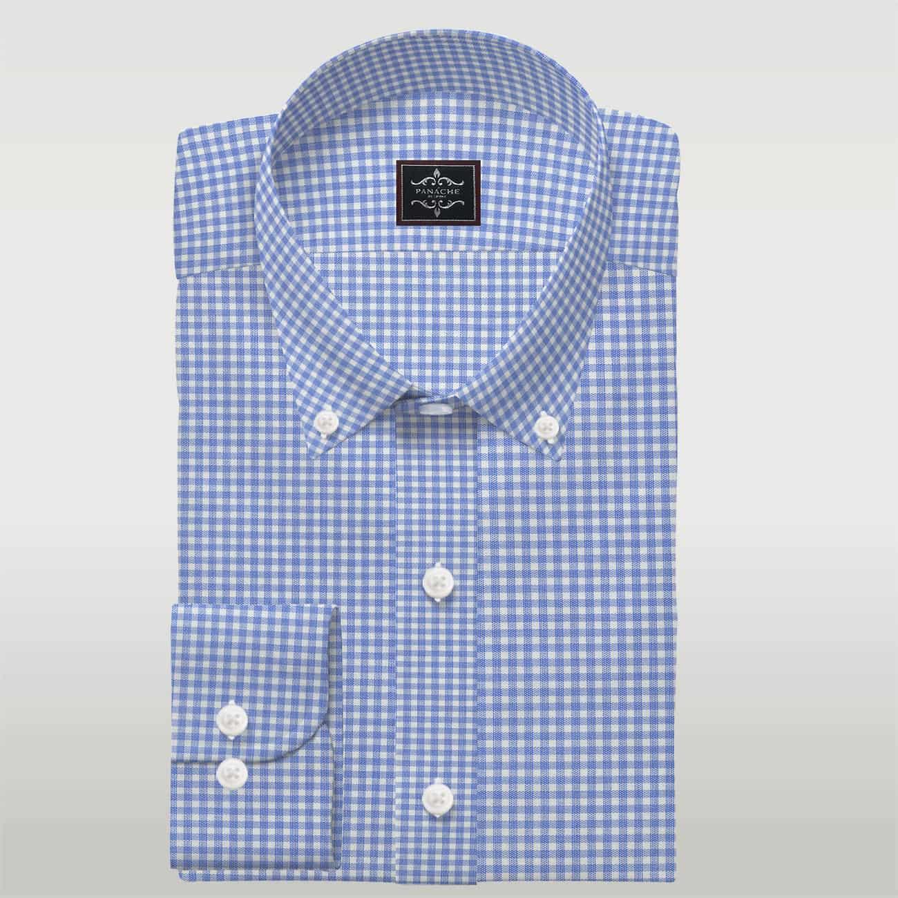 Light Blue Gingham shirt Mens Blue Dress Shirts