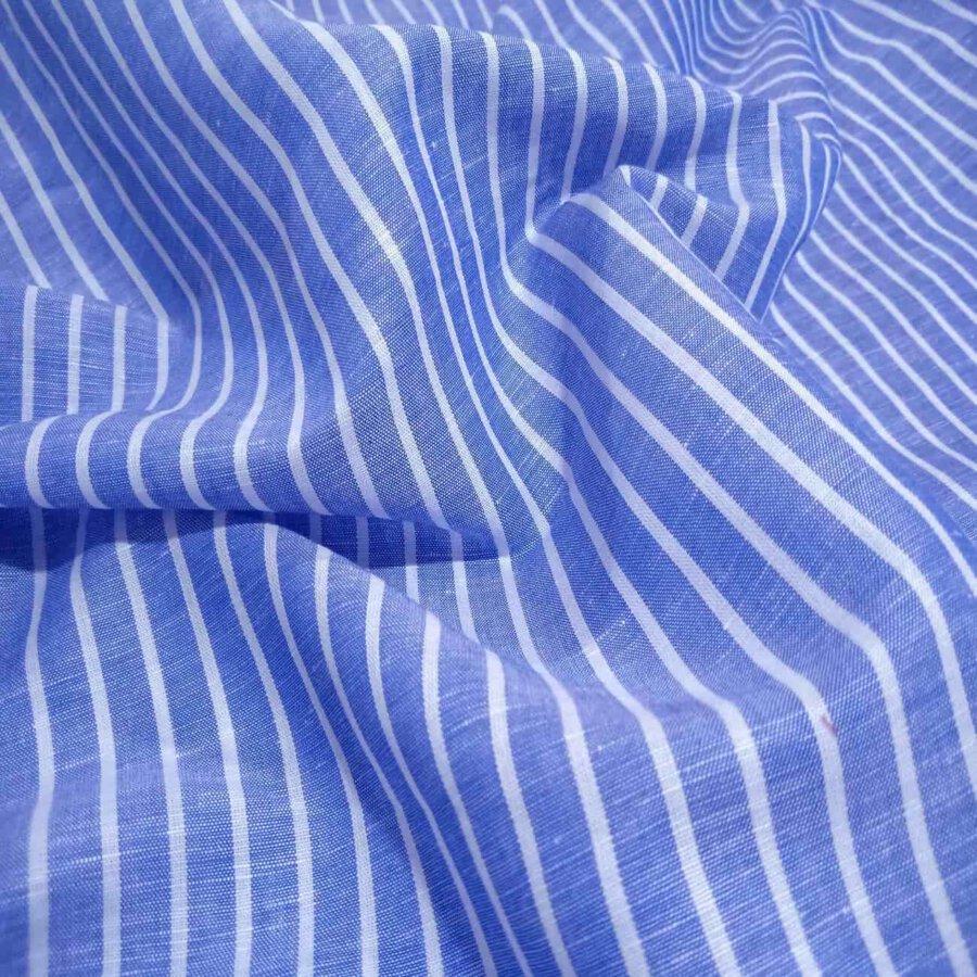Blue and White Stripes Linen Shirt
