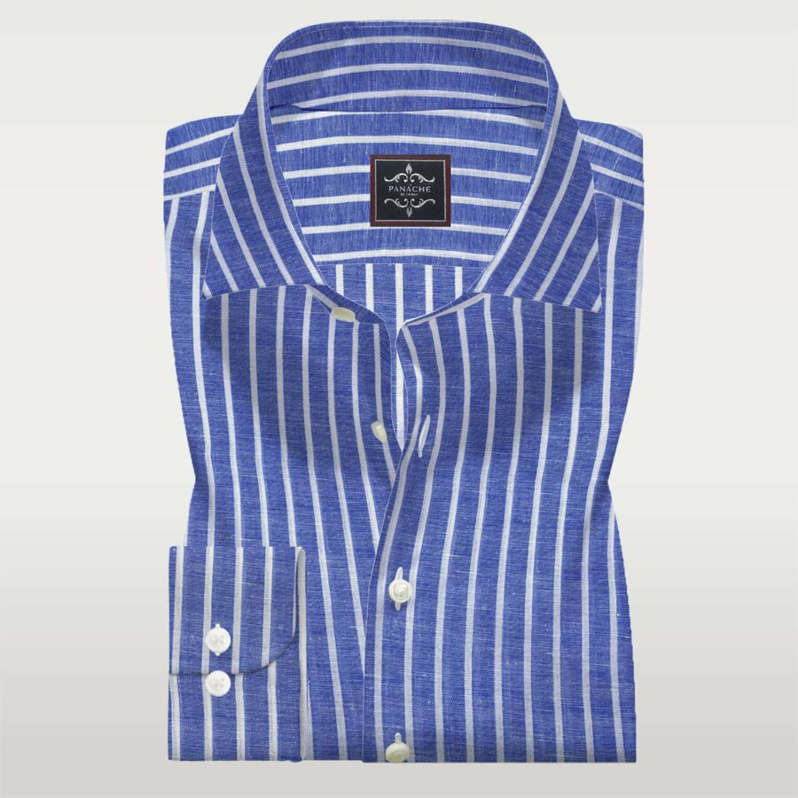 Mens Made to Measure Shirts Mid Blue Linen Shirt