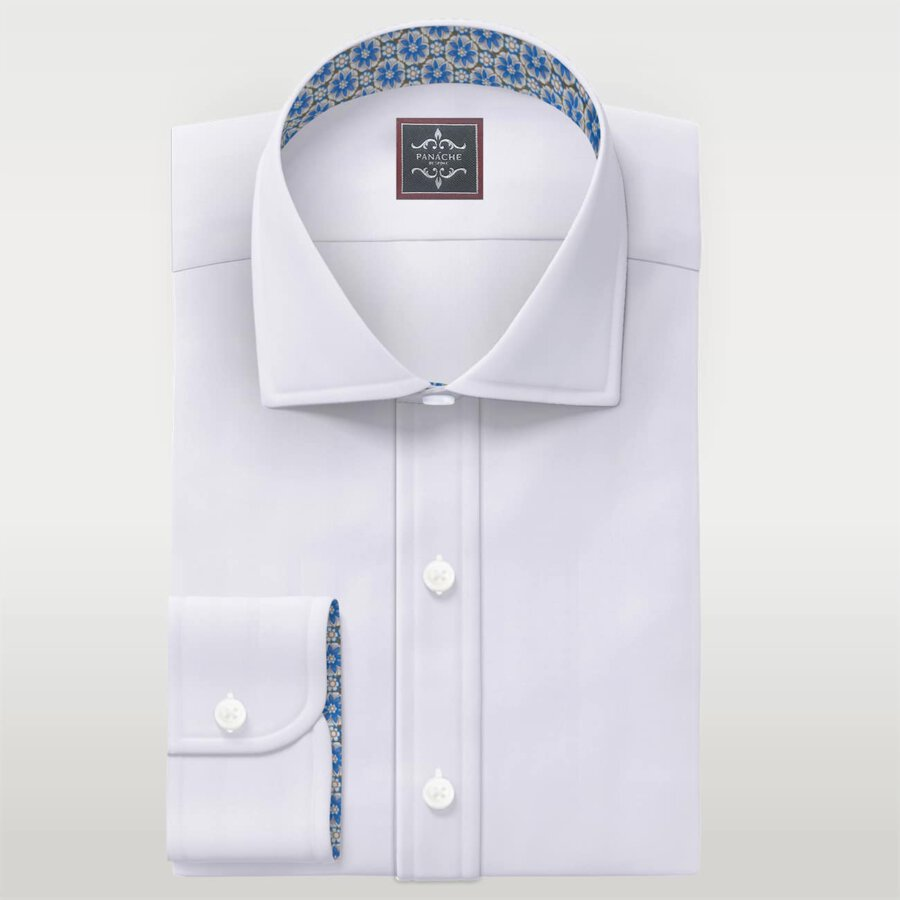 White Wrinkle Resistant Twill custom dress shirts