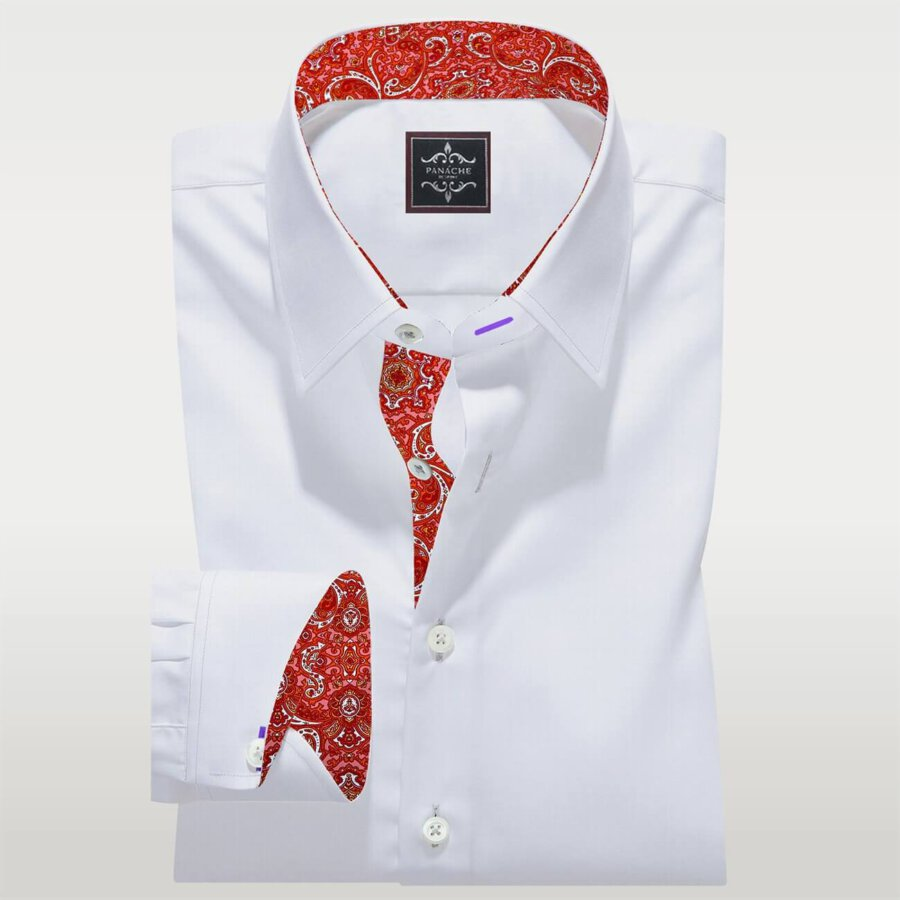 Luxury Red trimming Shirt Mens White Dress Shirt