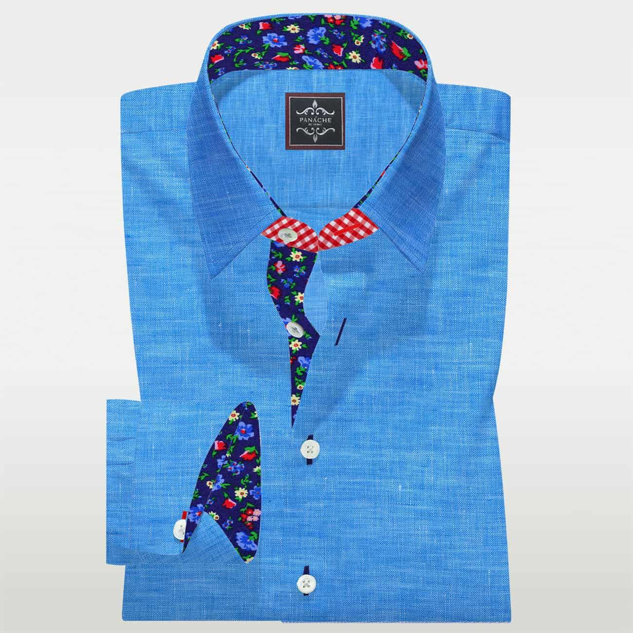Mens Linen Dress Shirts | Cyan Linen bespoke shirt