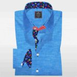 Mens Linen Dress Shirts | Cyan Linen bespoke shirt