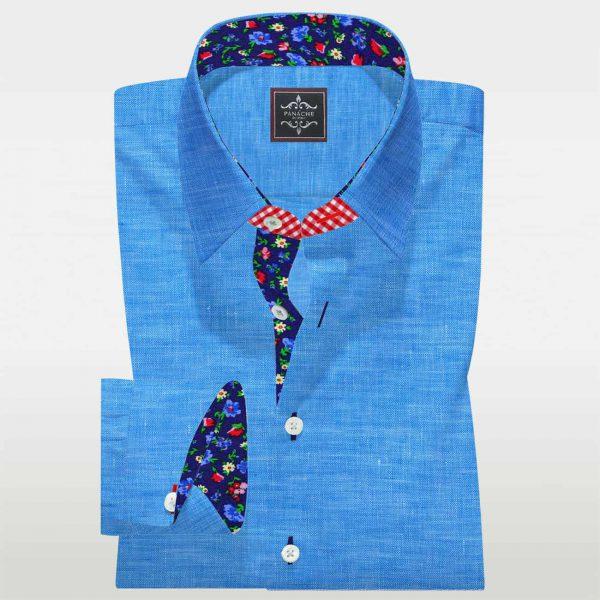 Cyan Linen bespoke shirt