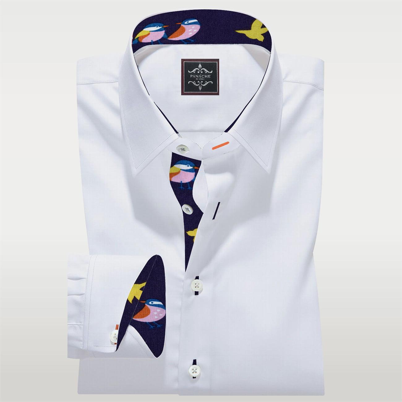 White Poplin Custom Made Shirt. Mens Custom Shirt