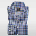 Plaid linen shirt | Blue and Grey Portuguese Linen