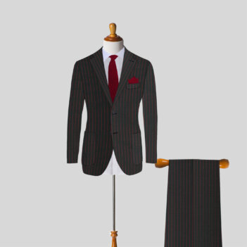 Mens Custom Suit Red Stripes Gray Charcoal
