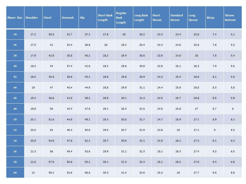extra slim fit suit finish size chart