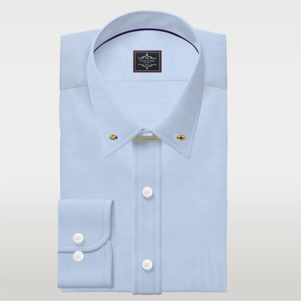 light blue royal oxford Pin collar shirt