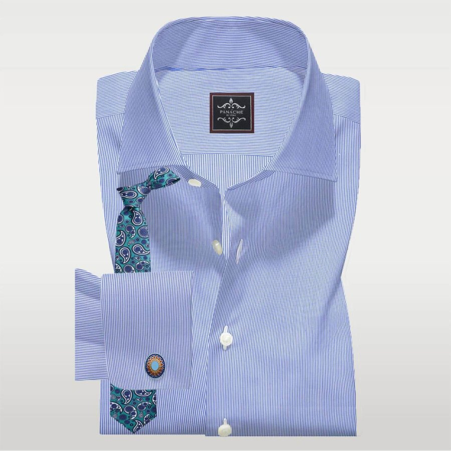 Pen Stripe Blue Shirt