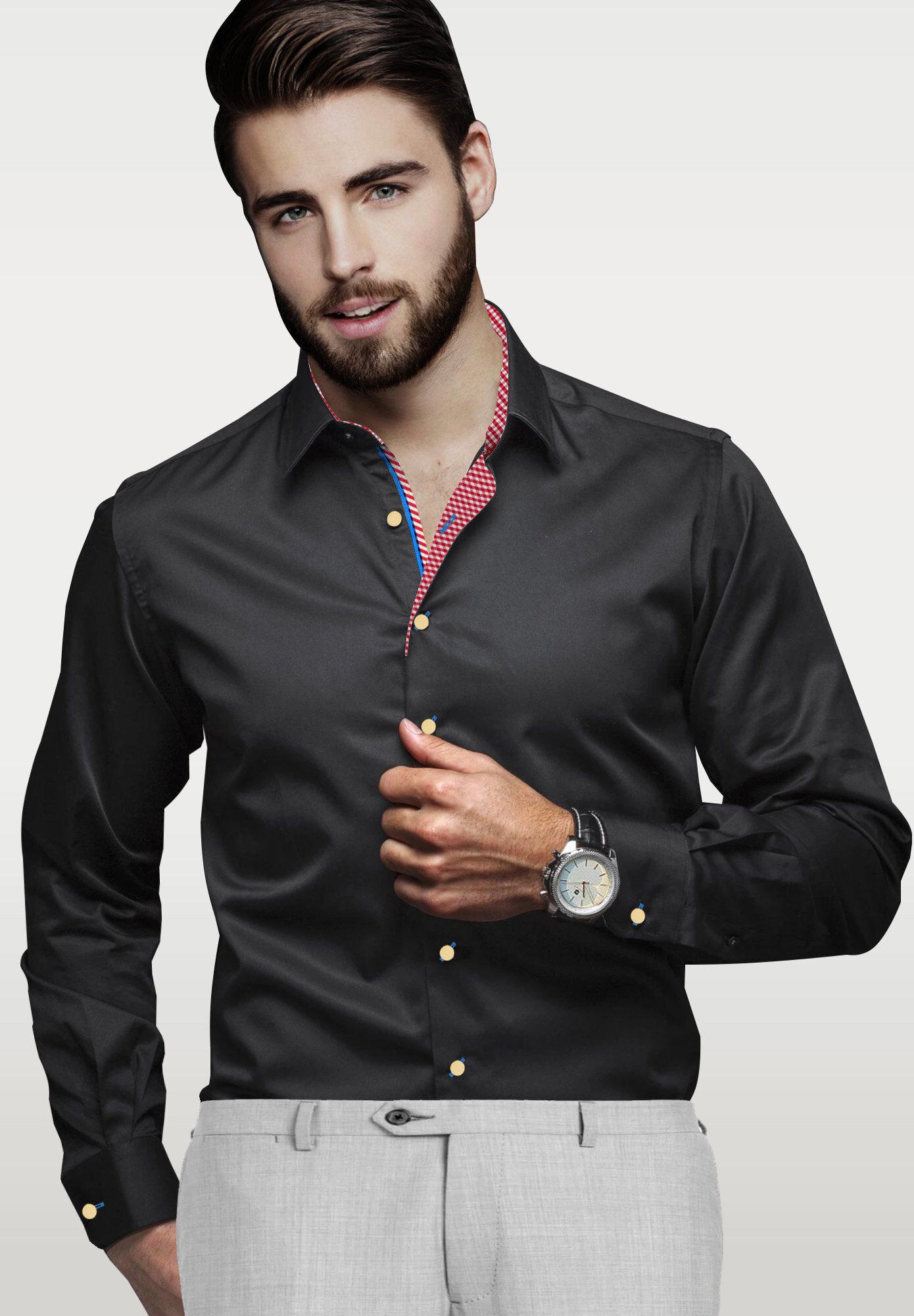 Black Mens Dress Shirts