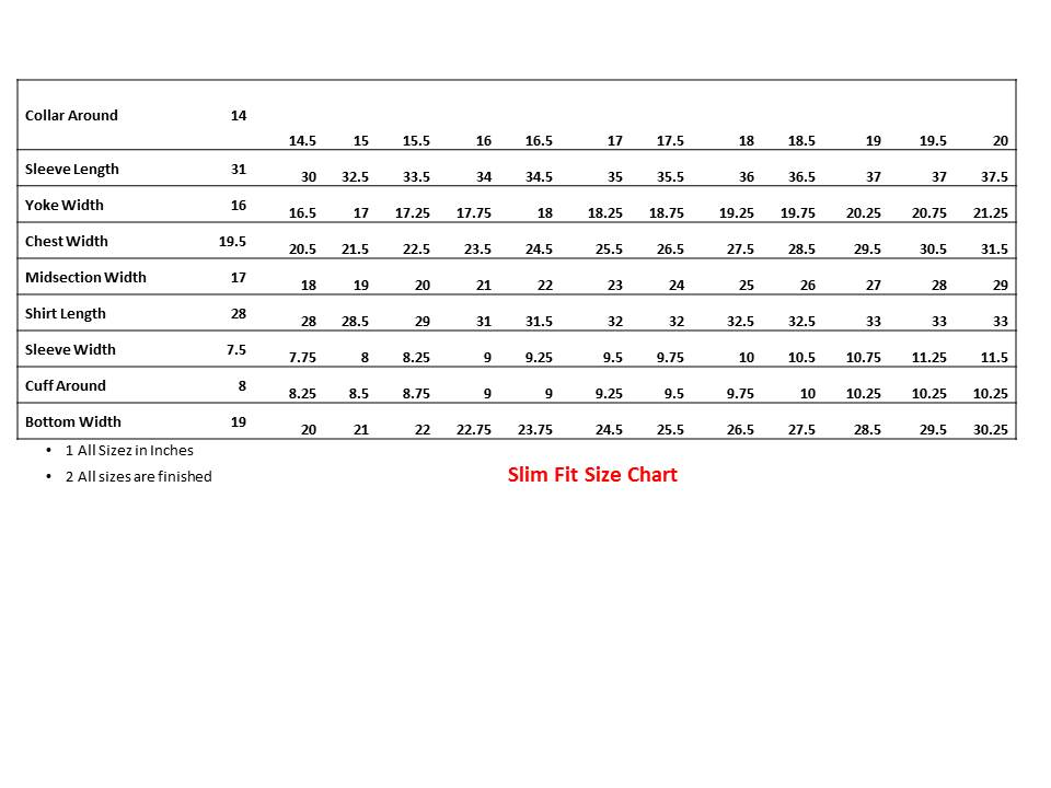 Men's Size Chart: 2