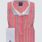 white and red striped shirt